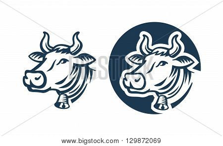 cow color head vector on white background