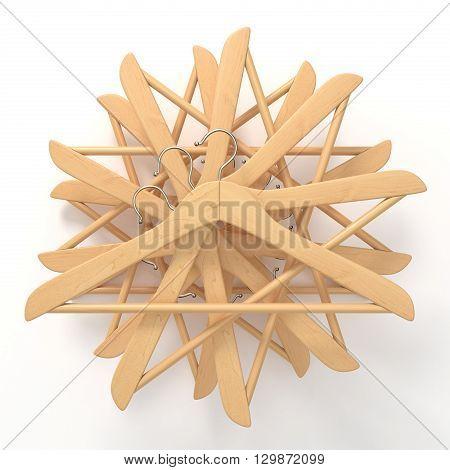 Wooden hangers star arranged. 3D render illustration isolated on white background