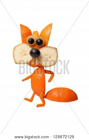 Funny squirrel made of orange and banana