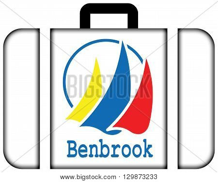 Flag Of Benbrook, Texas. Suitcase Icon, Travel And Transportation Concept