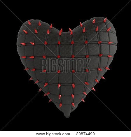 quilted heart with silver, kinky style metal, steel spikes on surface, isolated on black background 3d rendering. BDSM style valentine. poster