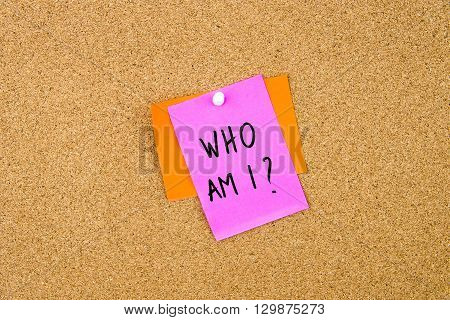 Who Am I Written On Paper Note