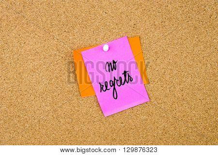 No Regrets Written On Paper Note