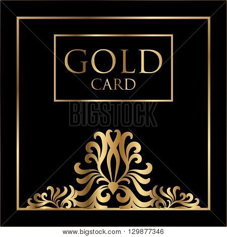 Vector gold card cover design. Excellent Cover template for promotion, business card, beauty, fashion, restaurant, invitation, business, nightclubs and gift cards. - stock vector