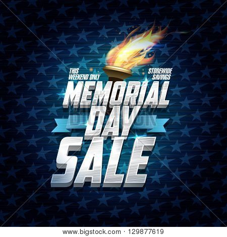 Advertising memorial day sale design, storewide savings, classic backdrop with stars, ribbon and torch fire