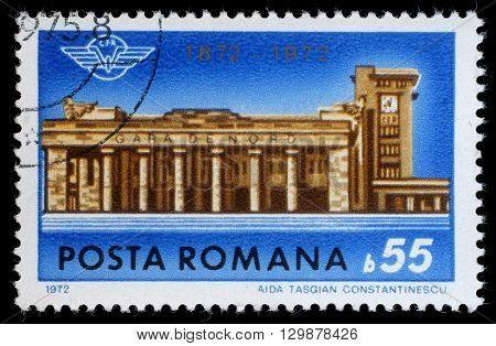 ZAGREB, CROATIA - JULY 18: a stamp printed in Romania shows Bucharest  North Station Centenary, circa 1972, on July 18, 2012, Zagreb, Croatia