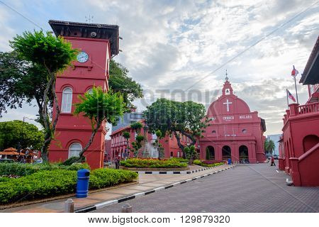 MALACCA MALAYSIA - FEBRUARY 29: Morning view of Christ Church and Dutch Square on February 29 2016 in Malacca Malaysia. Malacca was listed as a UNESCO World Heritage City in July 2008.