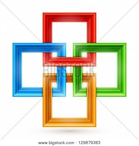 Four color picture frames or borders for photo or painting