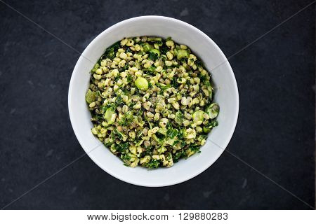 Healthy And Herby Salad With Wheatberries And Green Vegetables