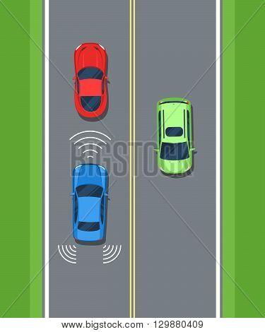 Smart car, safety. Remote sensing system of vehicle. Color Flat style vector illustration background for web design or print