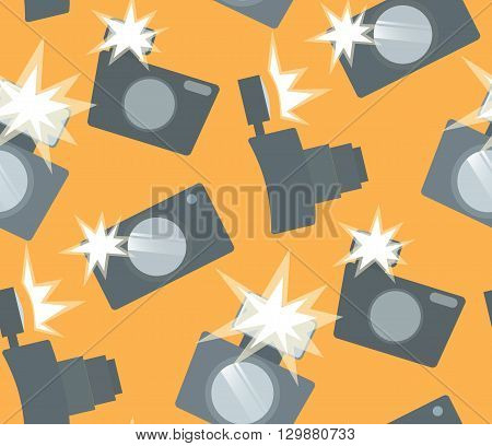 Seamless pattern with flat camera with flash. Vector background for your creativity