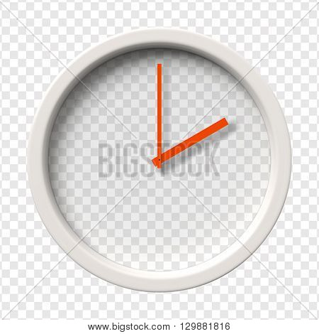 Realistic Wall Clock. Two o'clock am or pm. Transparent face. Red hands. Ready to apply. Graphic element for documents, templates, posters, flyers. Vector illustration