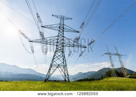 Electrical Tower On A Field In Slovakia