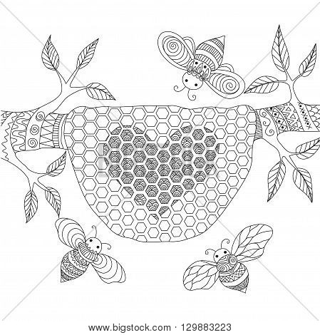 Line art design of honey bees flying around beehive for coring book for adult, wedding card design element