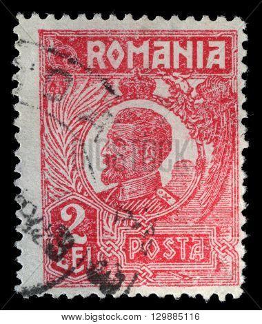 ZAGREB, CROATIA - JULY 18: Postage stamp printed in Romania shows Ferdinand I of Romania, circa 1923, on July 18, 2012, Zagreb, Croatia