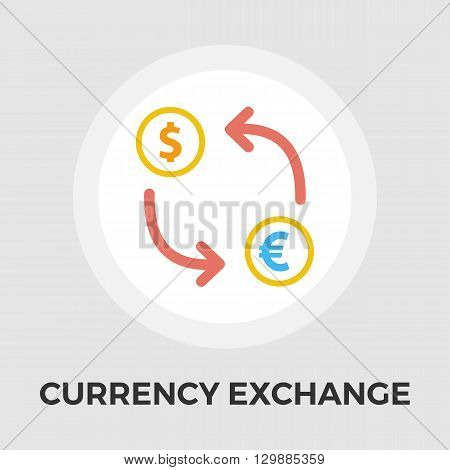 Currency exchange icon vector. Flat icon isolated on the white background. Editable EPS file. Vector illustration.