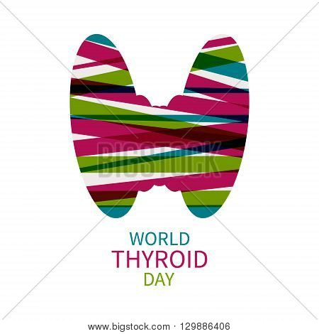 World Thyroid Day poster with silhouette of thyroid gland. Thyroid solidarity day. Vector illustration.