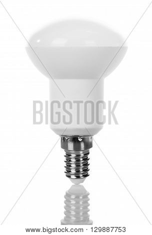 Energy-saving LED light bulb isolated on white background.