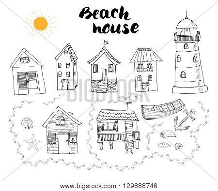 Beach Huts And Bungalows, Hand Drawn Outline Doodle Set With Light House Wooden Boat And Anchor, Sea