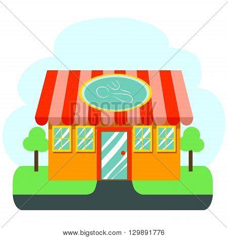 Stock Illustration of Restaurant Cafe with Shiny window