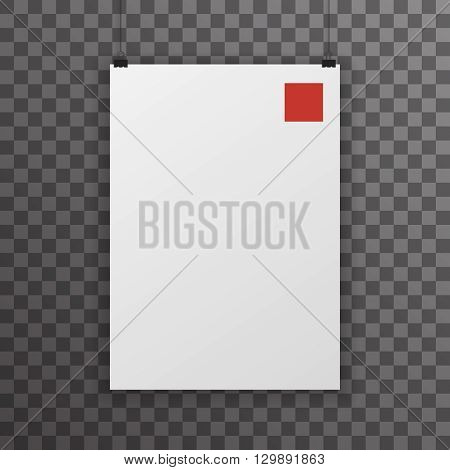 A4 Realistic Poster Transperent Icon Template Background Mock Up Design Vector Illustration