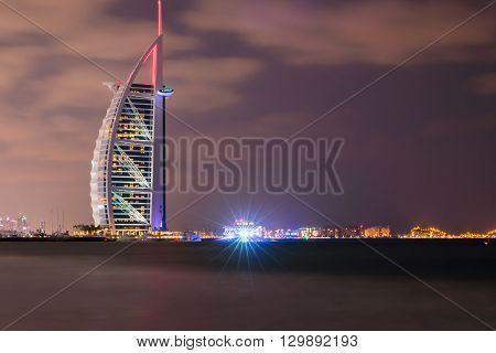 Burj Al Arab And Marina At The Sunset, Dubai