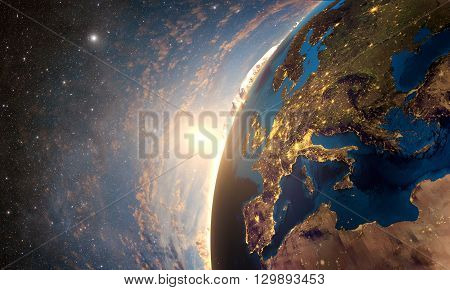 3D rendering of detailed colorful Earth,  highly detailed planet earth in the evening, sunset in Europe