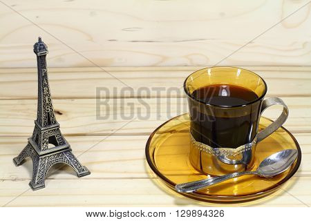 this is photo hot coffee and Eiffel model.