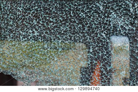 cracked windshield. road accident of car and smashed windscreen