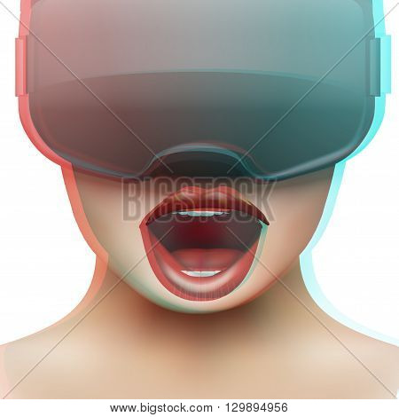 Concept of woman emotion with stereoscopic 3d VR headset. Front view. Vector illustration Isolated on white background.