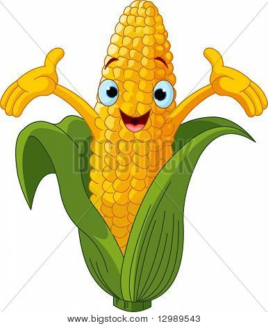 Corn Character Presenting Something
