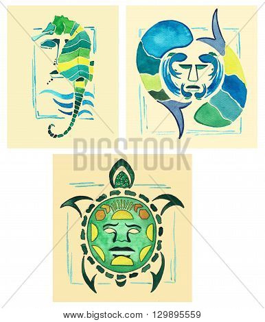 Totem sea horse. Totem Turtle. Marine totem. Marine totems drawn watercolor.