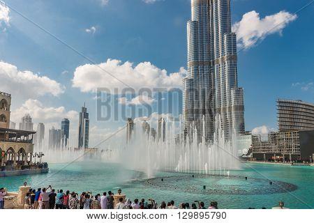 Burj Khalifa And Fountains On The Burj Khalifa Lake