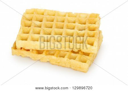 two plain waffles isolated on white background