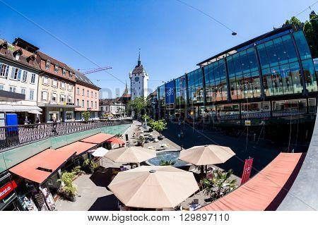 Exterior Views Of The Tower Stadtturm In Baden, Switzerland