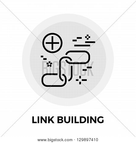 Link Building icon vector. Flat icon isolated on the white background. Editable EPS file. Vector illustration.
