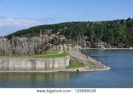 Look toward barrage wall of picturesque  dam, gather water of Iskar river, Pancharevo, Bulgaria