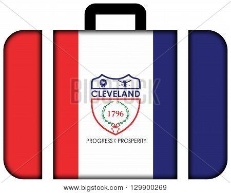 Flag Of Cleveland, Ohio. Suitcase Icon, Travel And Transportation Concept