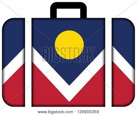 Flag Of Denver, Colorado. Suitcase Icon, Travel And Transportation Concept