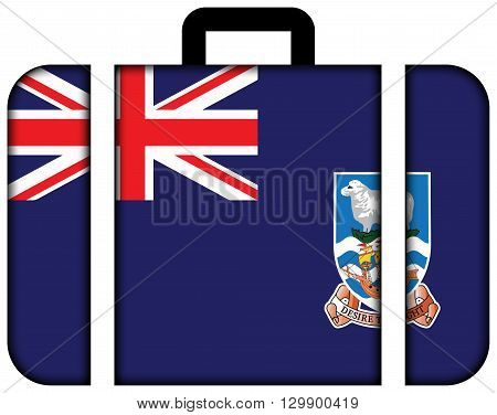 Flag Of Falkland Islands. Suitcase Icon, Travel And Transportation Concept