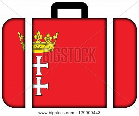 Flag Of Gdansk, Poland. Suitcase Icon, Travel And Transportation Concept