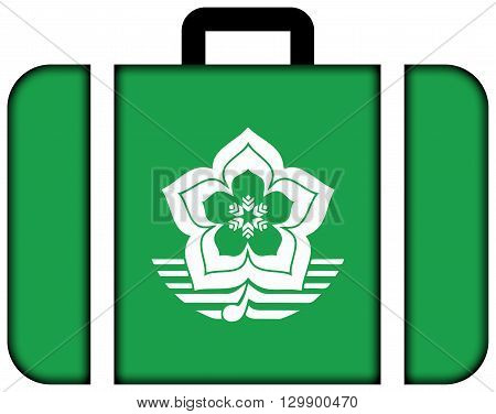 Flag Of Harbin, China. Suitcase Icon, Travel And Transportation Concept
