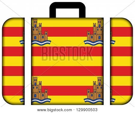 Flag Of Ibiza. Suitcase Icon, Travel And Transportation Concept