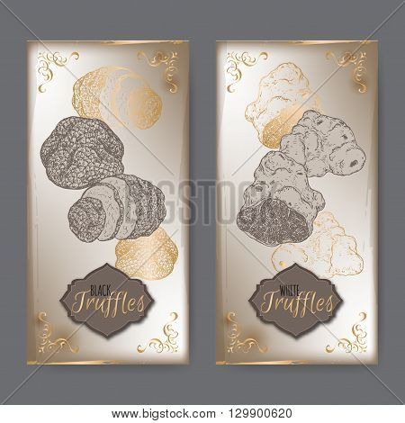 Set of two vintage labels with white and black truffles placed on old paper background. Great for restaurant, cafe, markets, grocery stores, organic shops, food label design.