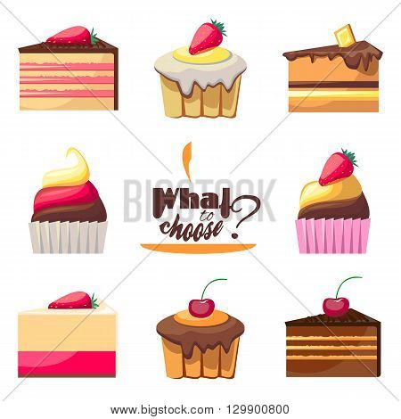 Set of eight delicious biscuits. Yummy cupcakes, donuts and muffins. Can be used for a dessert menu. Collection of bakery products. Take a sweet break. Have a snack. Assorted confectionery.