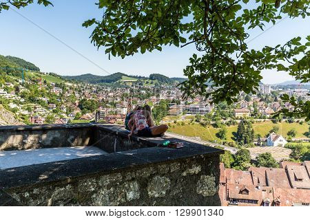 View From Ruin Stein To The City Of Baden