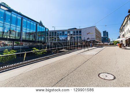 Exterior View Of A Shopping Center Near Tower Stadtturm In Baden