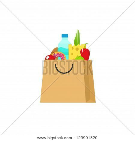Grocery bag vector illustration isolated on white background, paper bag of groceries flat cartoon simple design, fresh food products package
