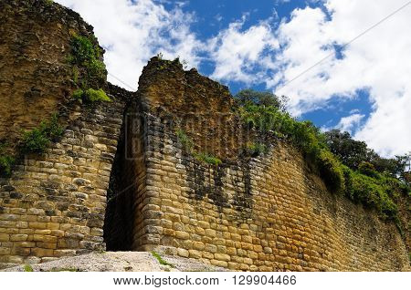 South America Peru Kuelap matched in grandeur only by the Machu Picchu this ruined citadel city in the mountains near Chachapoyas. Main gate