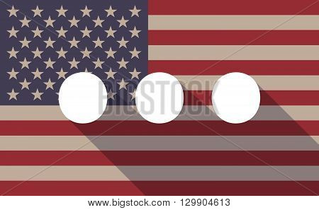 Long Shadow Usa Flag Icon With   An Ellipsis Orthographic Sign